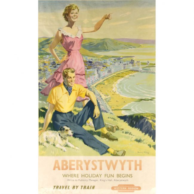 Aberystwyth original vintage British Railways travel poster Harry Riley