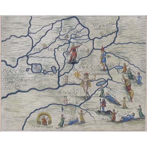 Michael Drayton (1563-1631)/William Hole (?-1624) - Poly-Olbion – Map of Cambridgeshire 1612 or 1622