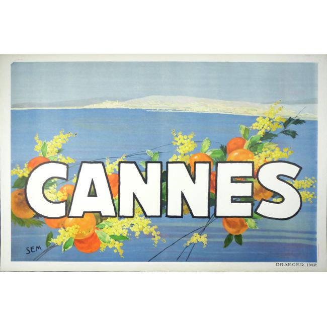 SEM Original Vintage Poster Cannes 1930 (Georges Goursat (1863-1934))