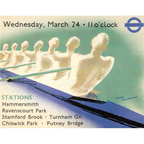 Percy Drake Brookshaw Original Vintage Boat Race Poster for London Underground £1950