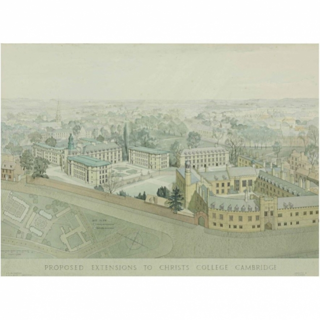 Sir Albert Richardson Design for Buildings for Christ's College Cambridge