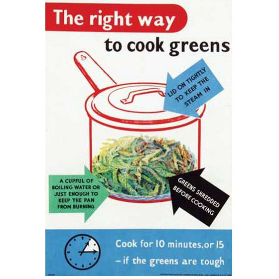 The right way to cook greens original vintage propaganda poster £350
