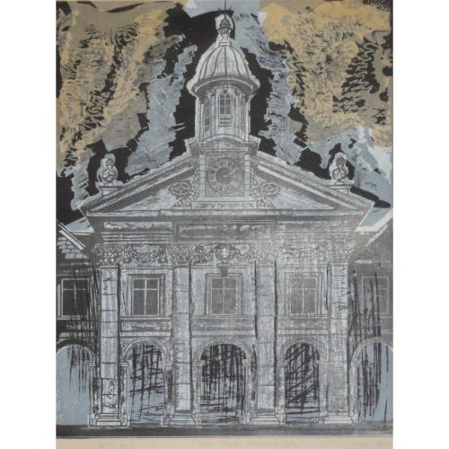 Walter Hoyle Emmanuel College Cambridge Linocut for Sale