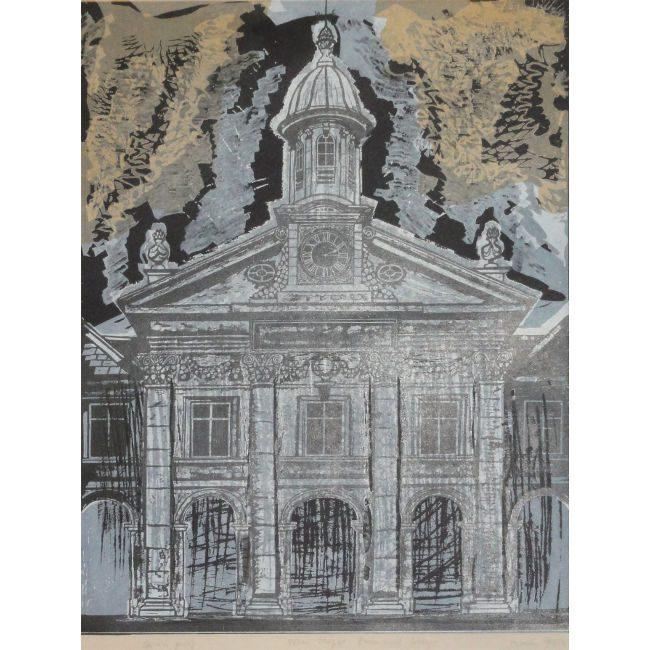 Walter Hoyle Emmanuel College Cambridge Linocut for Sale
