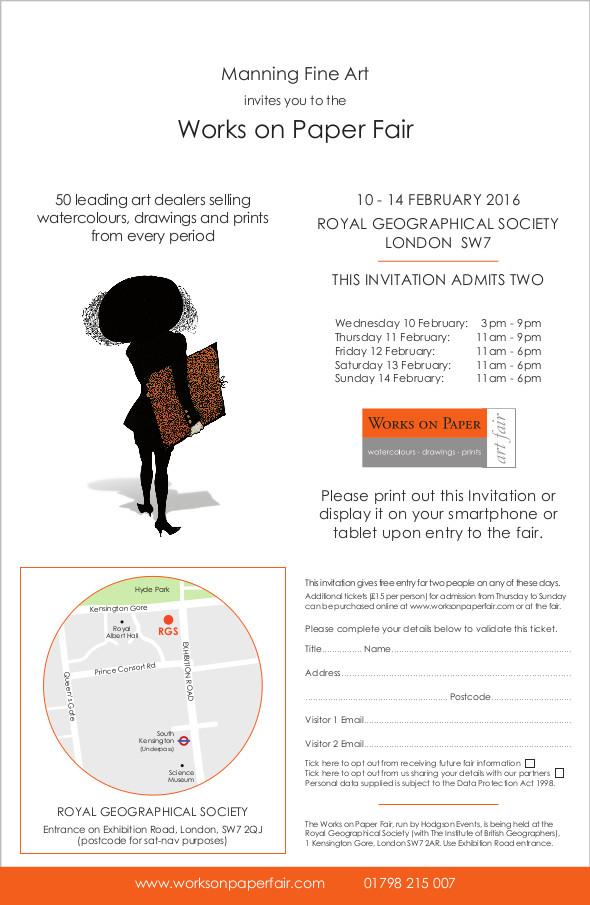 Works on Paper Fair 2016 invitation