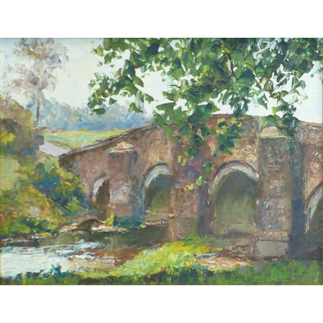 Piero Sansalvadore Bridge near Chithurst, West Sussex Oil Painting for sale