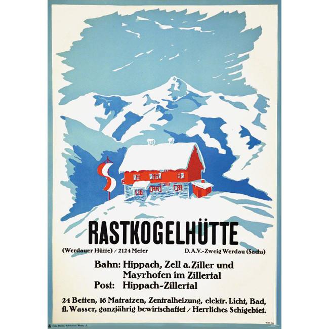 Rastkogelhütte Vintage Ski Poster