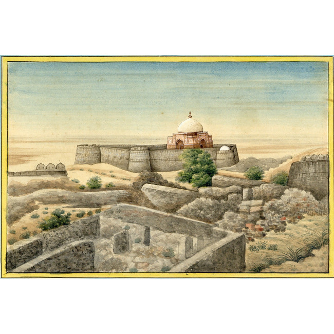 Stone Fort in Desert Landscape 19th Century