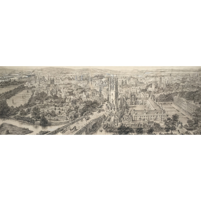 Henry William Brewer Bird's-Eye Panorama of Oxford 1893 pen and ink for sale
