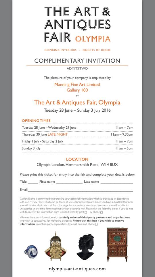 Art and Antiques Fair Olympia 2016 invitation