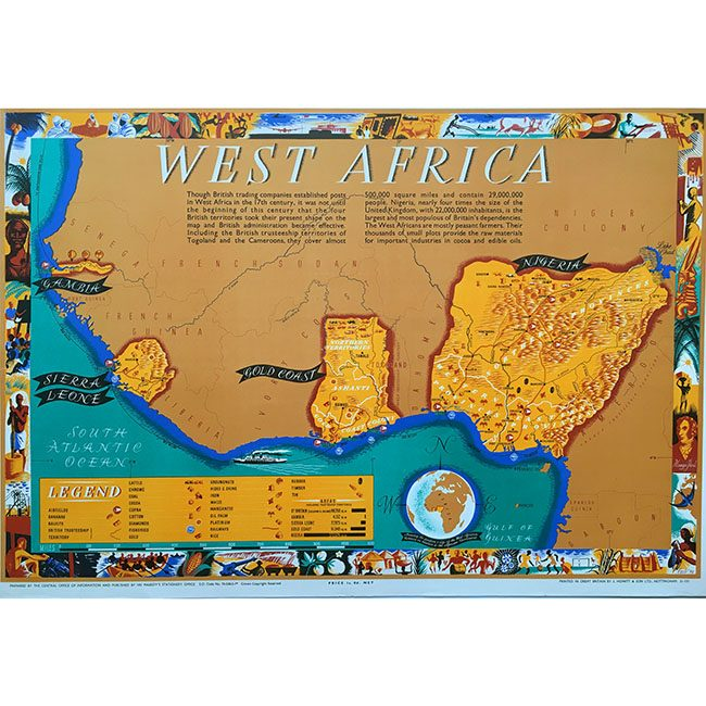 Leo Vernon West Africa poster map for sale