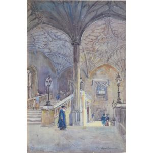 William Matthison Christ Church Oxford staircase watercolour