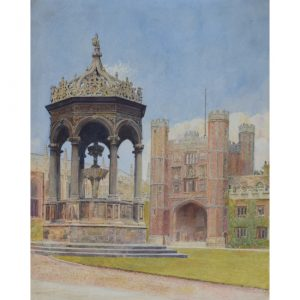 Trinity College Cambridge Great Court watercolour for sale