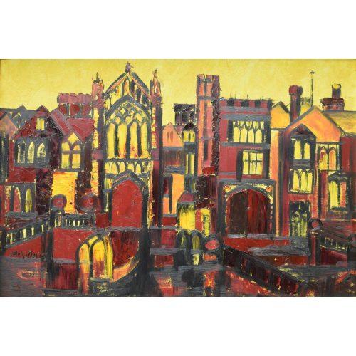 J Philip Davis oil on board painting of Selwyn College Cambridge for sale