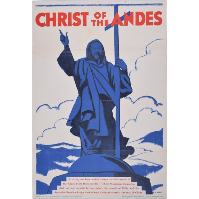 Christ of the Andes Chile original vintage poster for sale