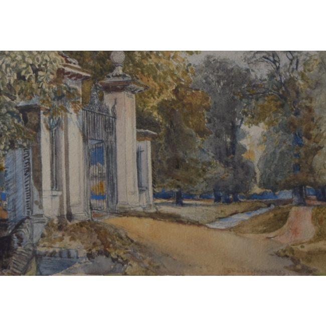 John Fulleylove Clare College Gates Cambridge watercolour for sale