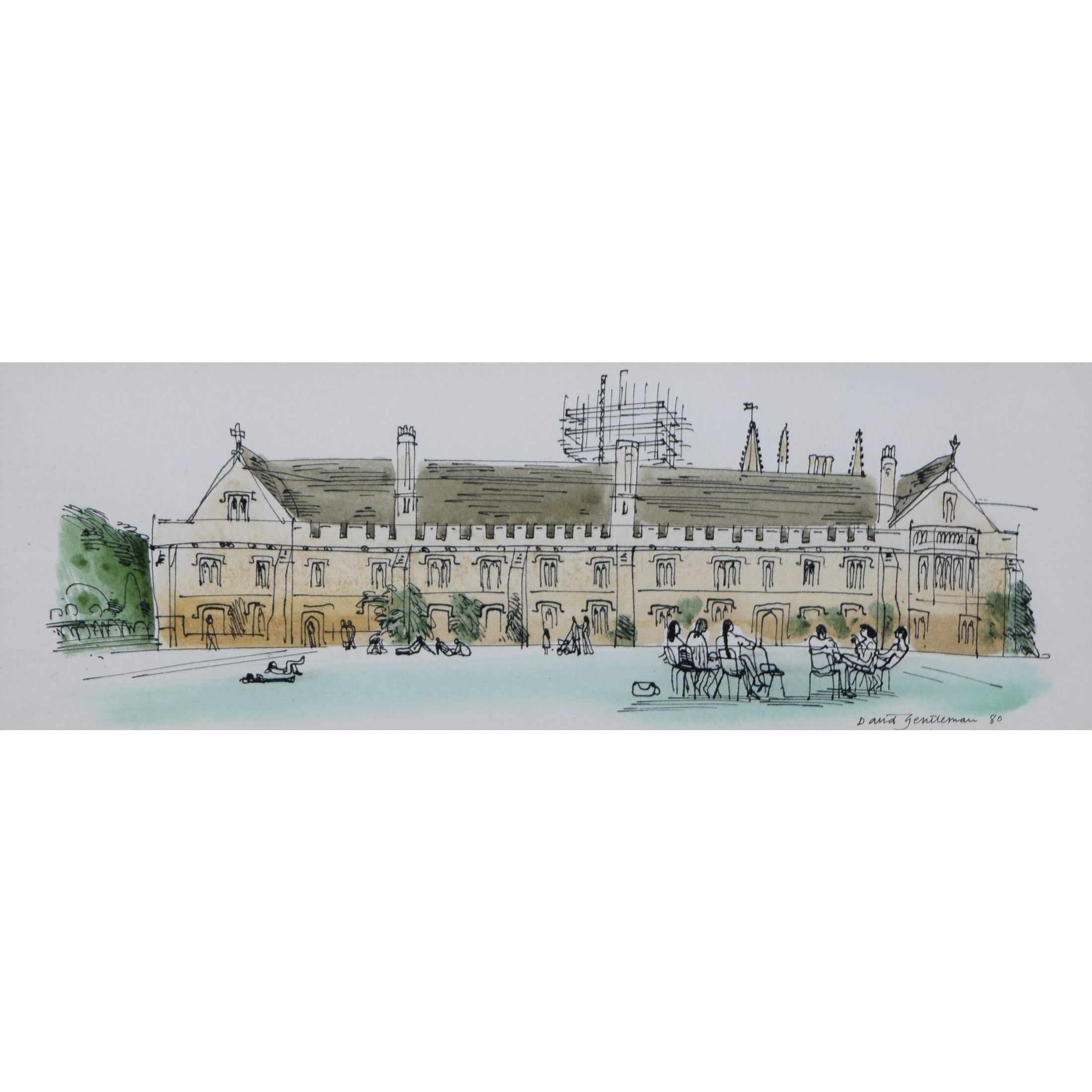 David Gentleman Magdalen College Oxford watercolour