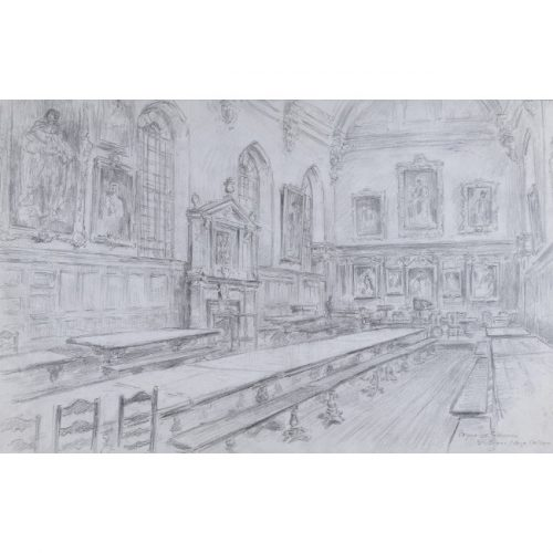 Bryan de Grineau St John's College Oxford Hall pencil drawing for sale