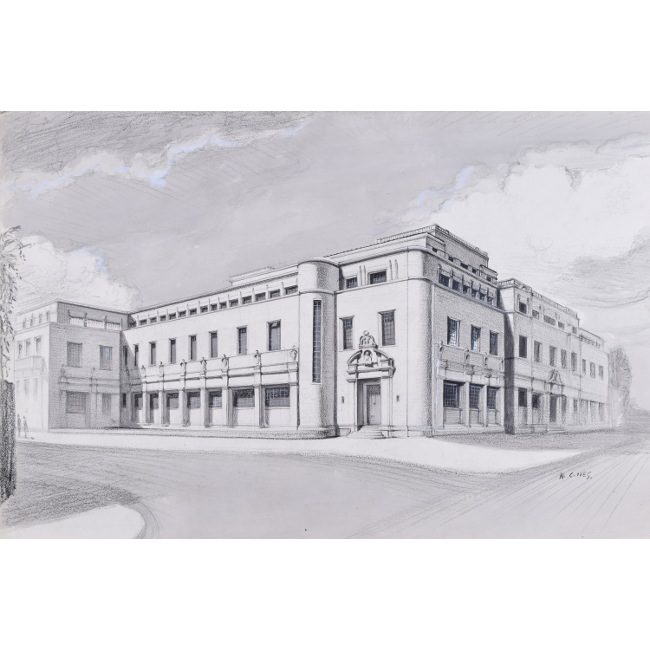 Ives The New Bodleian Building, Oxford 1946 for sale watercolour and pencil