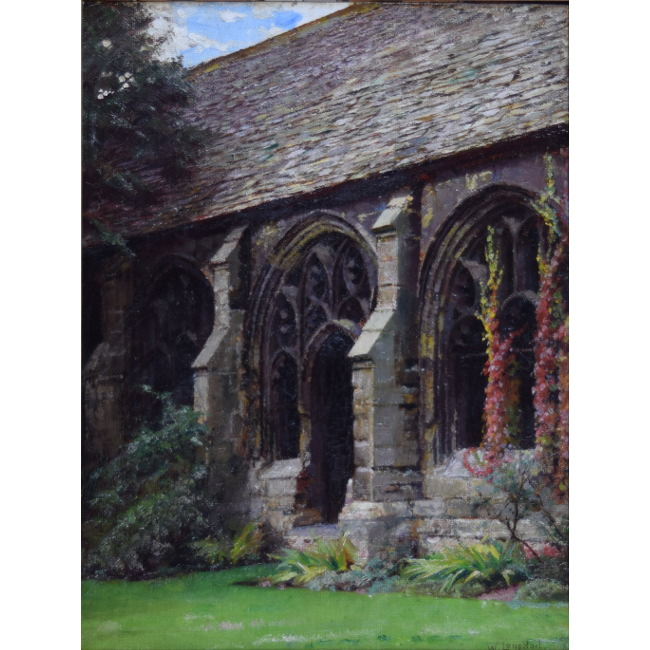 Wiliam Logsdail New College Cloisters Oxford oil on board for sale