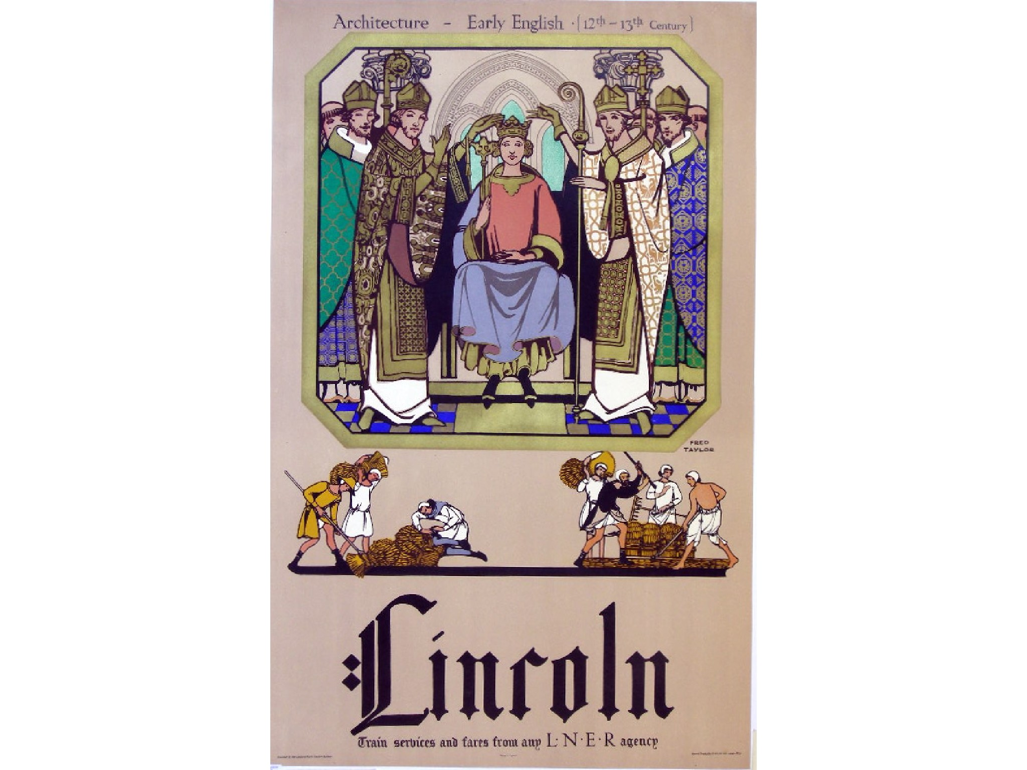 Fred Taylor Lincoln Cathedral Railway Poster Early English Architecture