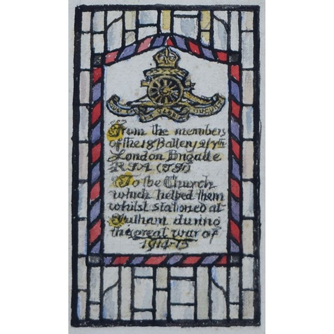 Reginald Hallward World War One Stain Glass Memorial Window