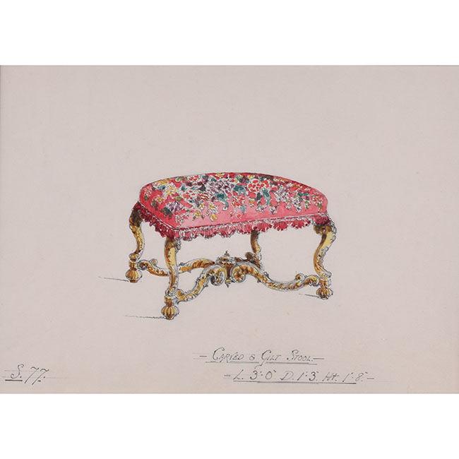 D L Hadden Design for Carved and Gilt Stool