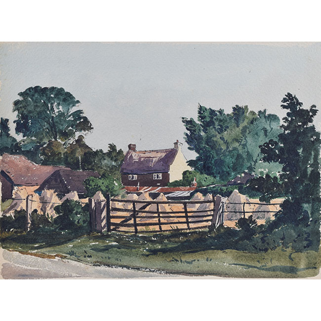 Claude Muncaster Landscape with Harvest Field and Cottage