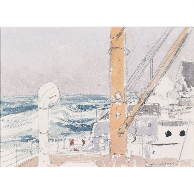Claude Muncaster Storn on Exeter, Bay of Biscay watercolour