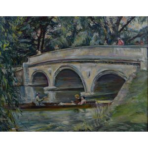 Nancy Huntly Trinity College Cambridge Bridge oil on canvas
