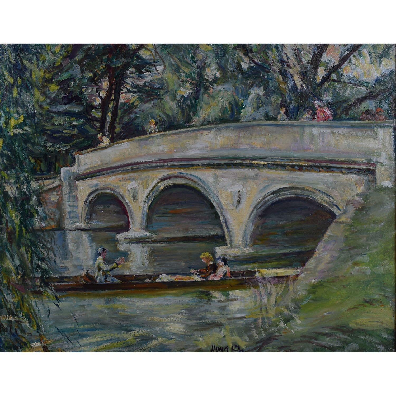 Nancy Huntly Trinity College Cambridge Bridge oil on canvas
