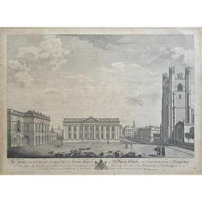 P S Lamborn A view of the Public Library, the Senate House and St Mary's Church and the University of Cambridge
