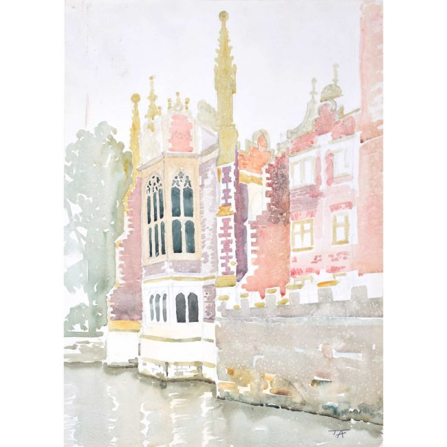J V C Anthony St. John's College, Cambridge watercolour painting