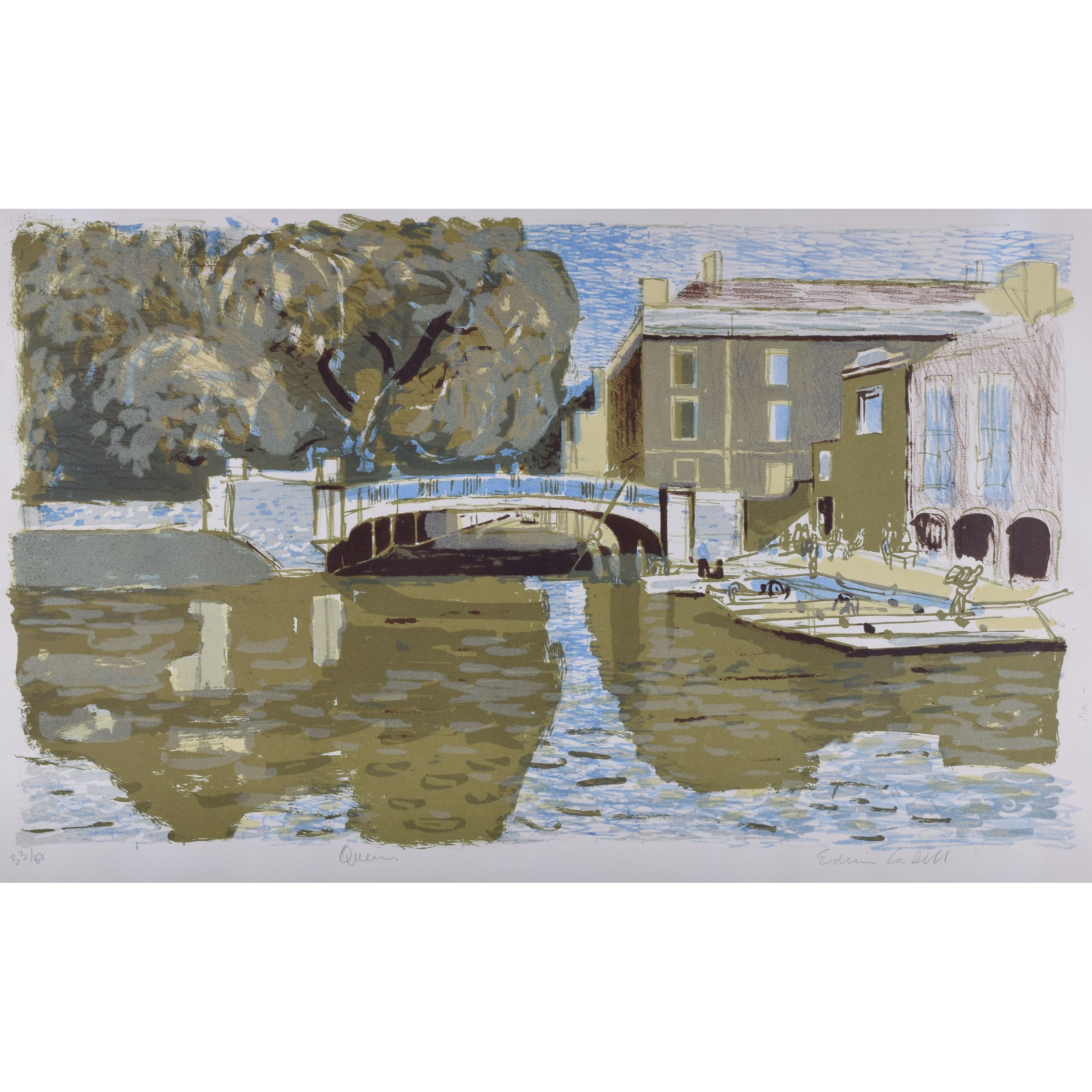 Edwin La Dell Queens' College Cambridge lithograph