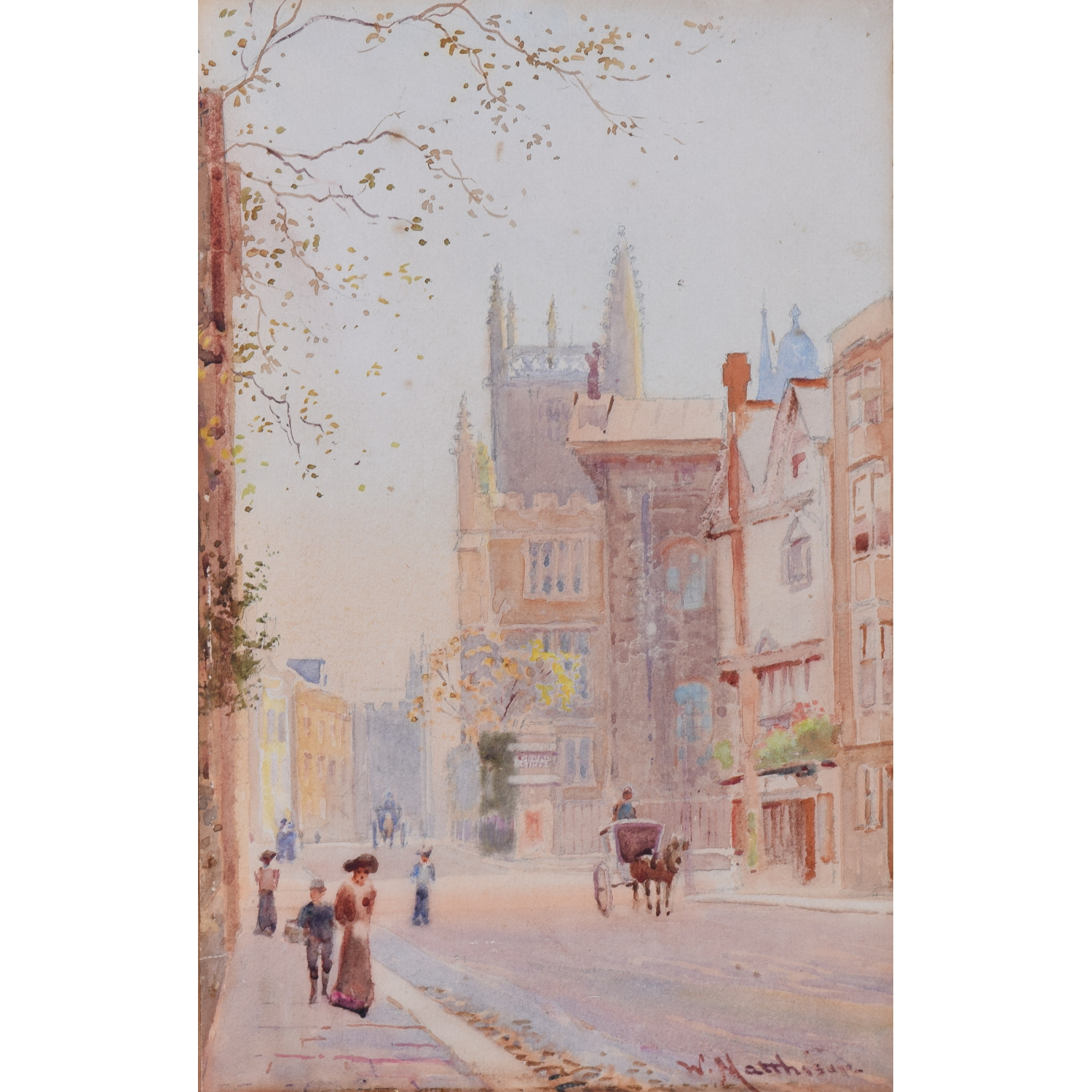William Matthison watercolour Exeter and Balliol Colleges Oxford from the Sheldonian for sale