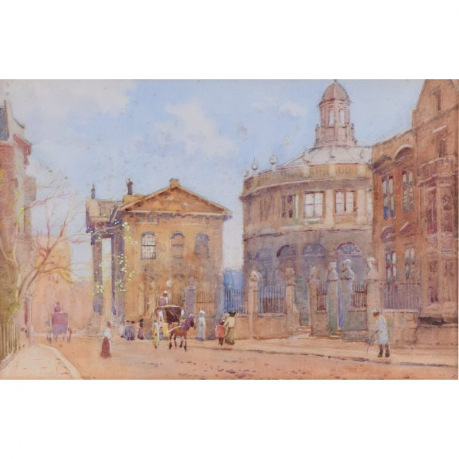 William Matthison Old Clarendon and Sheldonian watercolour painting Oxford