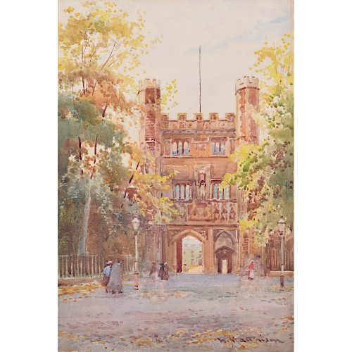 William Matthison Trinity Quad in the Autumn Cambridge watercolour painting for sale