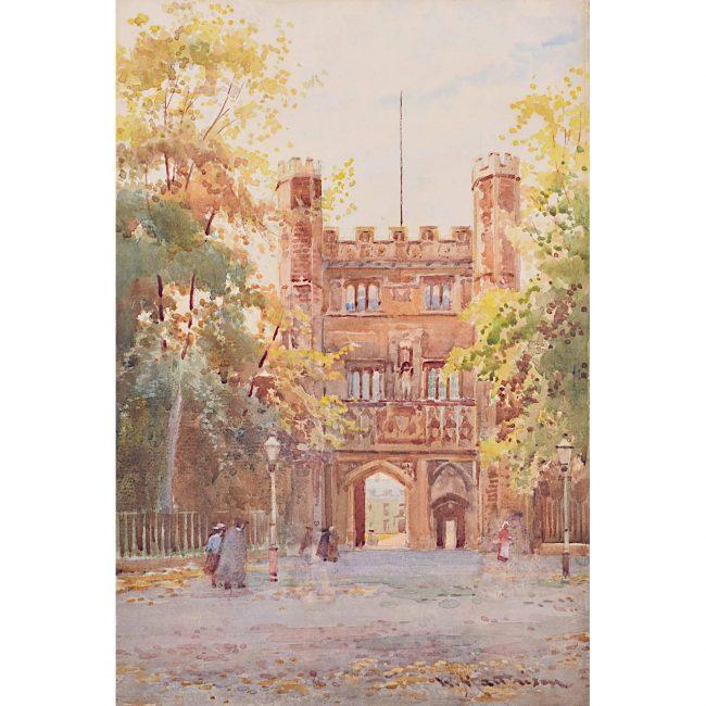 William Matthison Trinity Quad in the Autumn Cambridge watercolour painting for sale