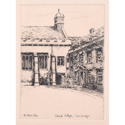 M Oliver Rae Christ's College Cambridge Dining Hall etching