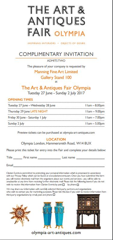The Art and Antiques Fair Olympia invitation 2017