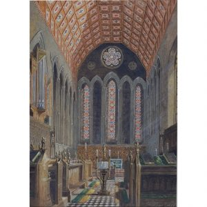 George Pyne Jesus College Cambridge Chapel watercolour