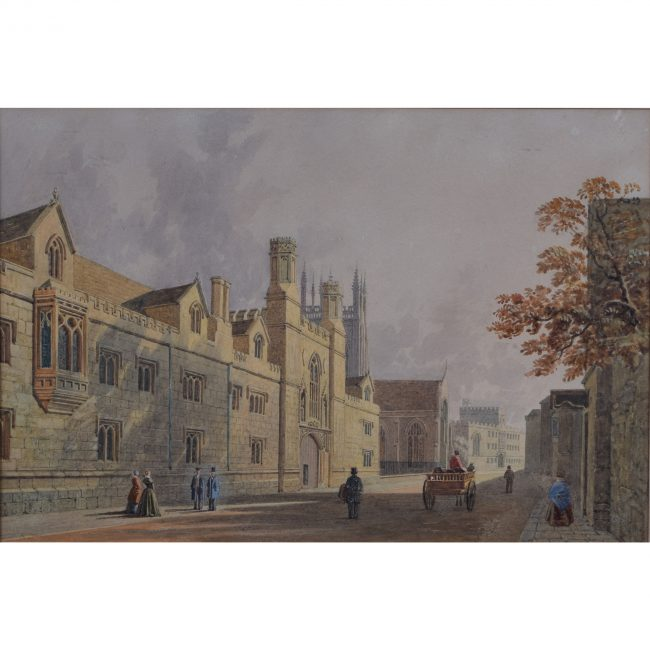 George Pyne Merton College Oxford watercolour