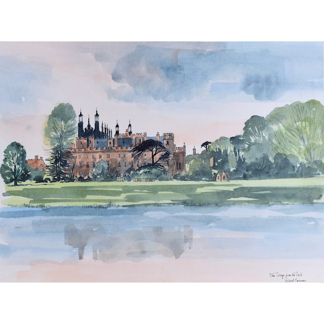 Robert Tavener Eton College from the lock watercolour painting