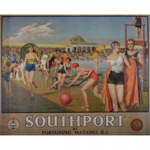 Fortunino Matania Southport Poster for LNER