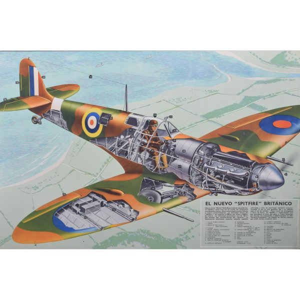 "1940 Spitfire cutaway original vintage poster El Nuevo ""Spitfire"" Britanico for sale Battle of Britain"