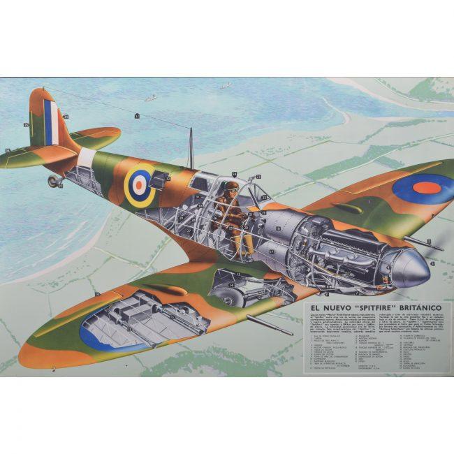 """1940 Spitfire cutaway original vintage poster El Nuevo """"Spitfire"""" Britanico for sale Battle of Britain"""