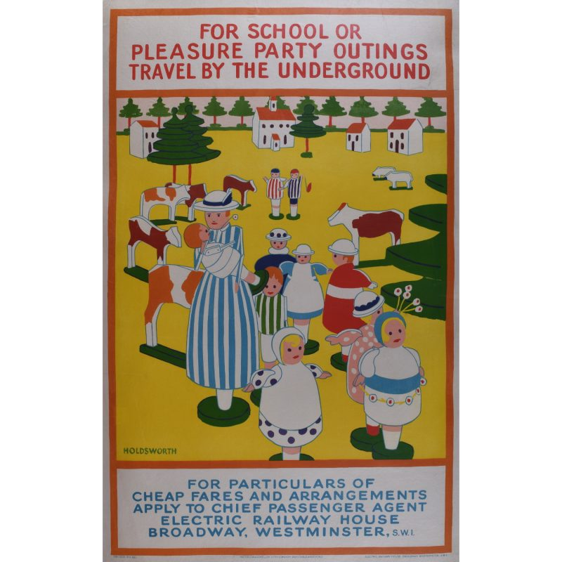 Violet M. Holdsworth, 1922 London Underground Poster For School or Pleasure Parties