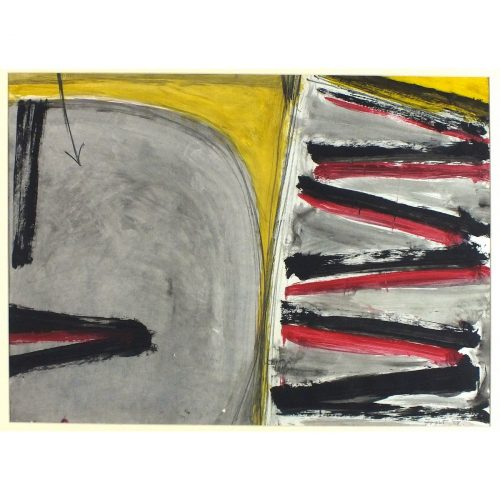 Terry Frost Autumnal Landscape in Red, Black and Yellow watercolour 1958
