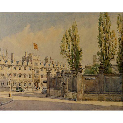 Bernard Cecil Gotch Oriel College from Bear Lane watercolour for sale
