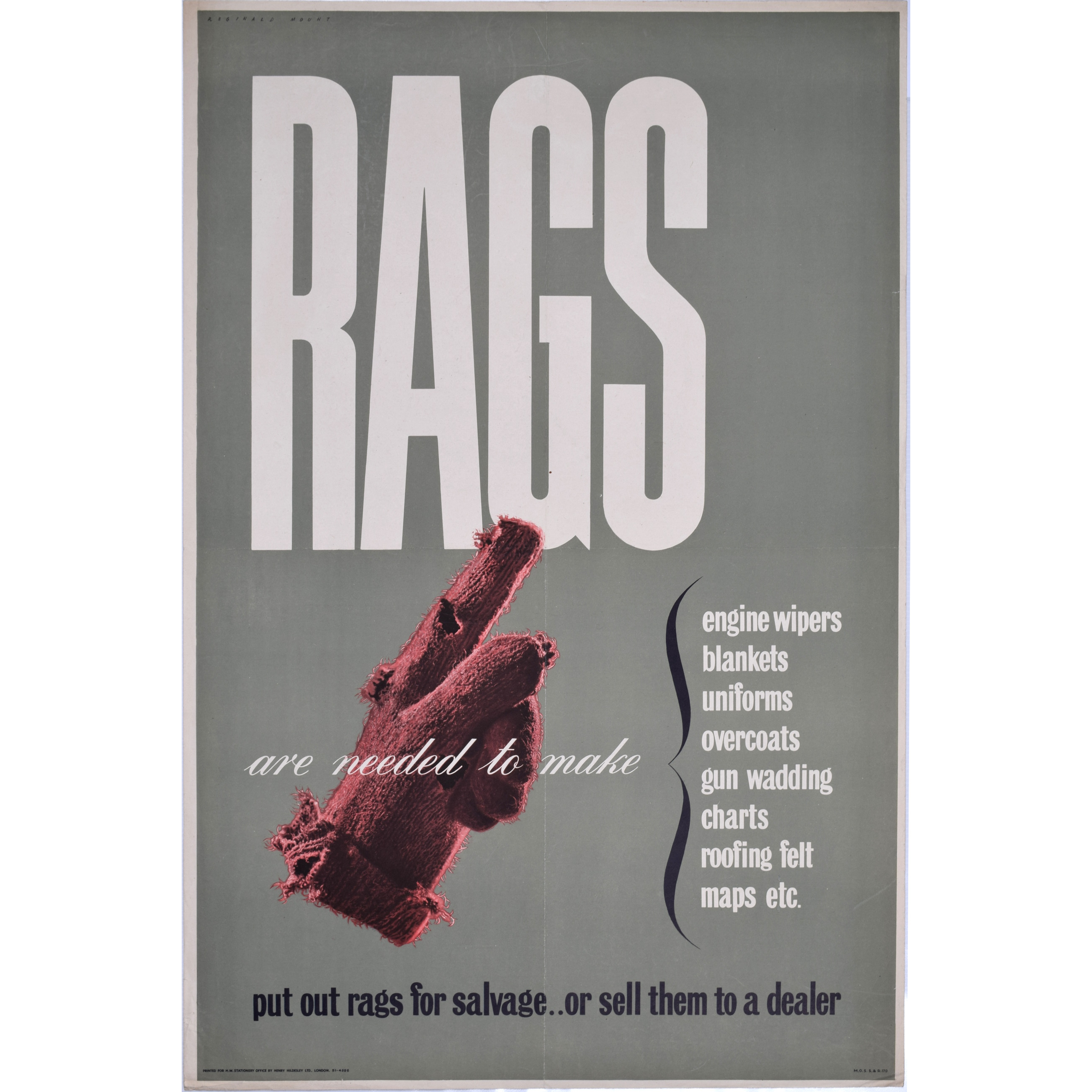 Reginald Mount Rags are Needed to Make Vintage Poster